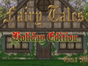 Front view of a fairy tale cottage with the words 'Fairy Tales: Holiday Edition'