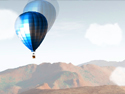"Balloon with a passenger gondola soaring over the mountains represents the animation ""Quest"""